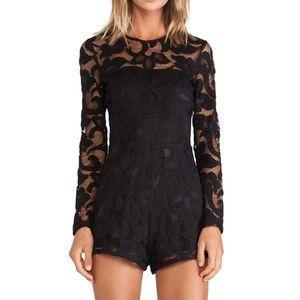 Alexis Montreuil Lace Romper Black Long Sleeve XS